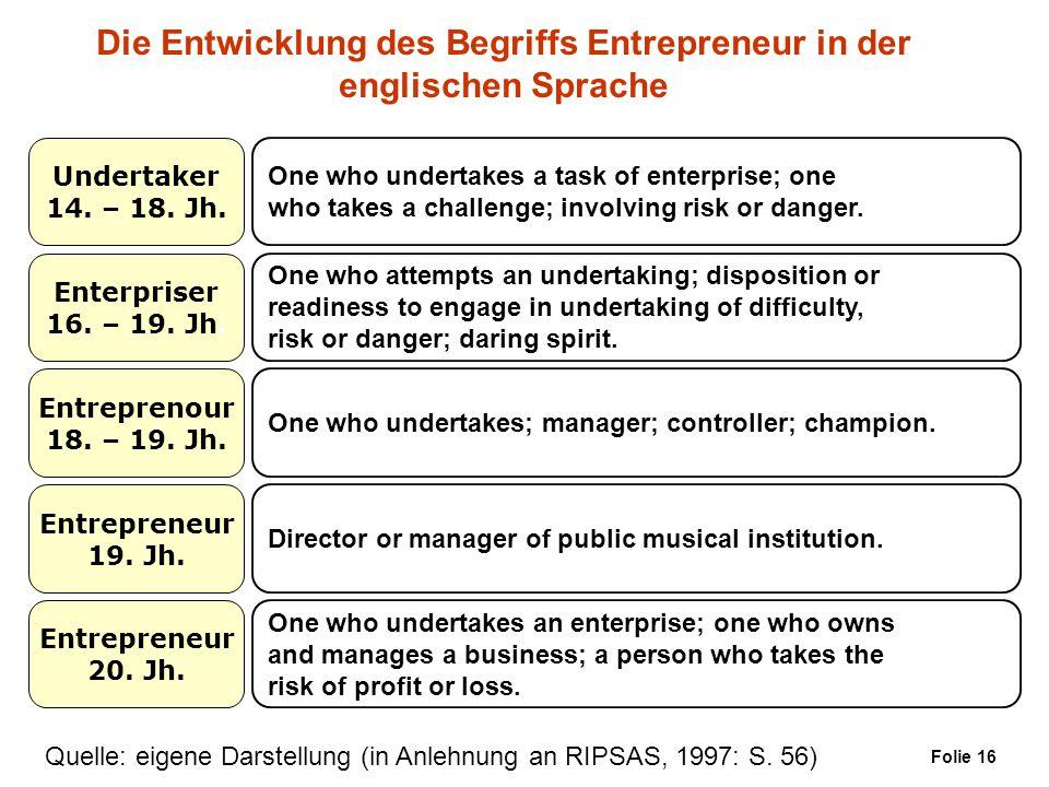 Die Entwicklung des Begriffs Entrepreneur in der englischen Sprache Undertaker 14. – 18. Jh. Enterpriser 16. – 19. Jh. Entreprenour 18. – 19. Jh. Entr