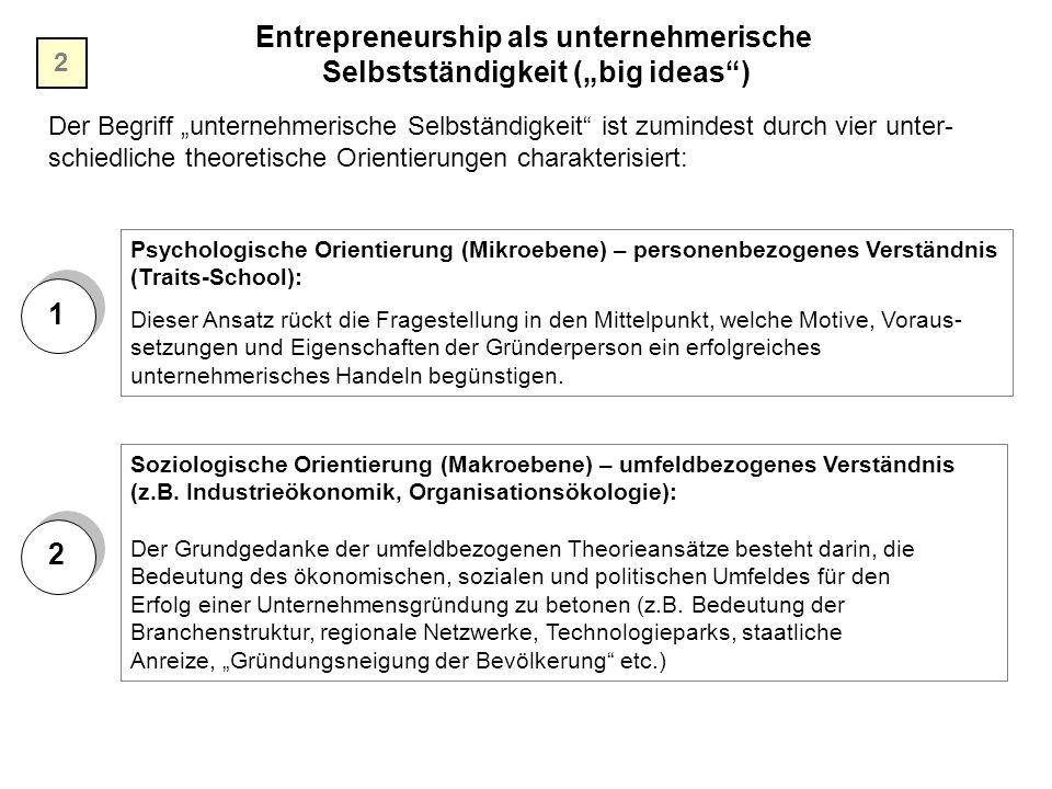 """Entrepreneurship als unternehmerische Selbstständigkeit (""""big ideas"""") Der Begriff """"unternehmerische Selbständigkeit"""" ist zumindest durch vier unter- s"""
