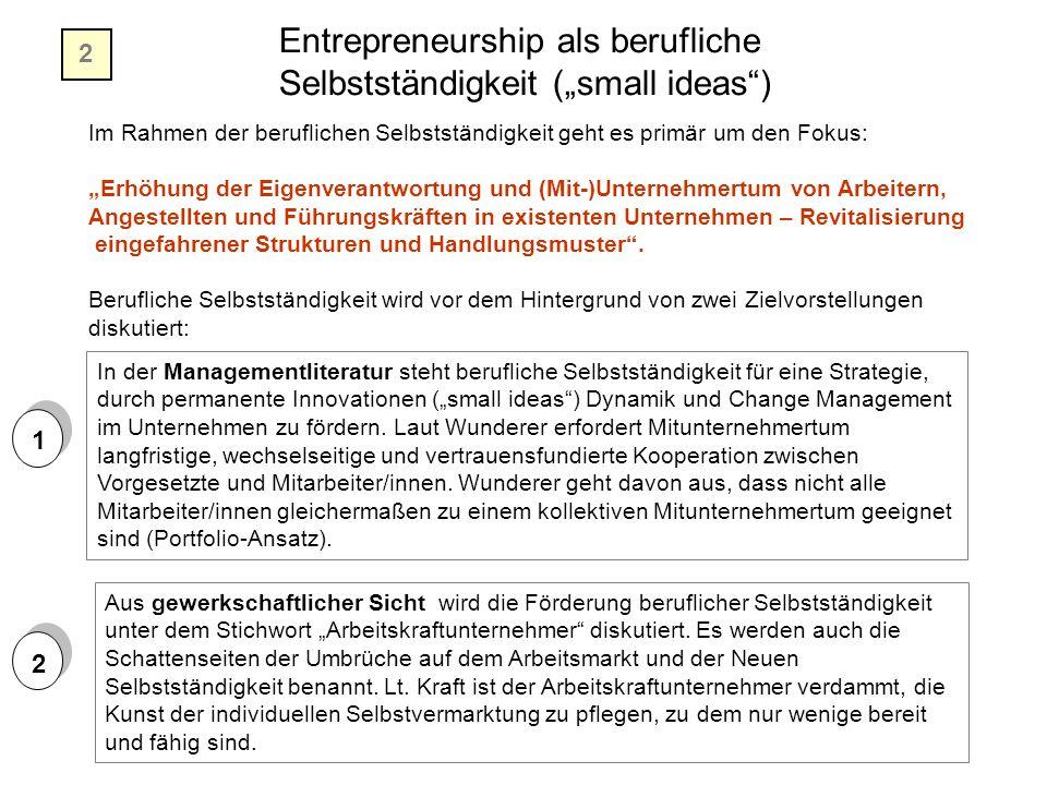 """Entrepreneurship als berufliche Selbstständigkeit (""""small ideas"""") Im Rahmen der beruflichen Selbstständigkeit geht es primär um den Fokus: """"Erhöhung d"""