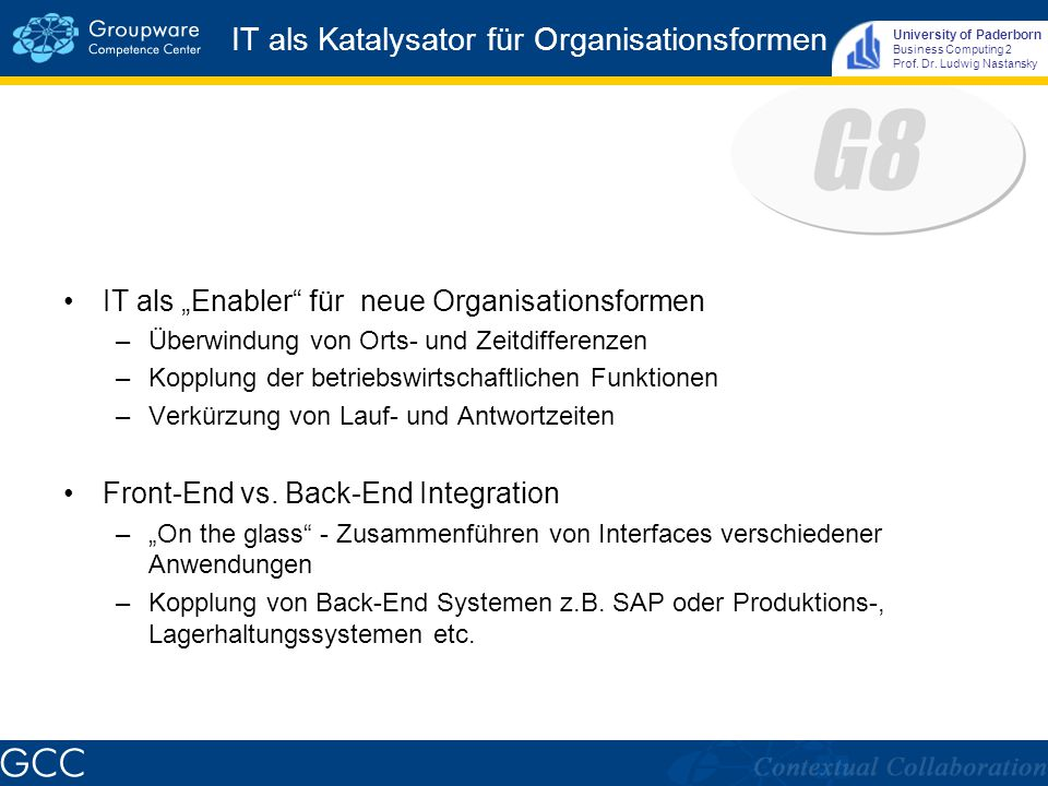 University of Paderborn Business Computing 2 Prof.