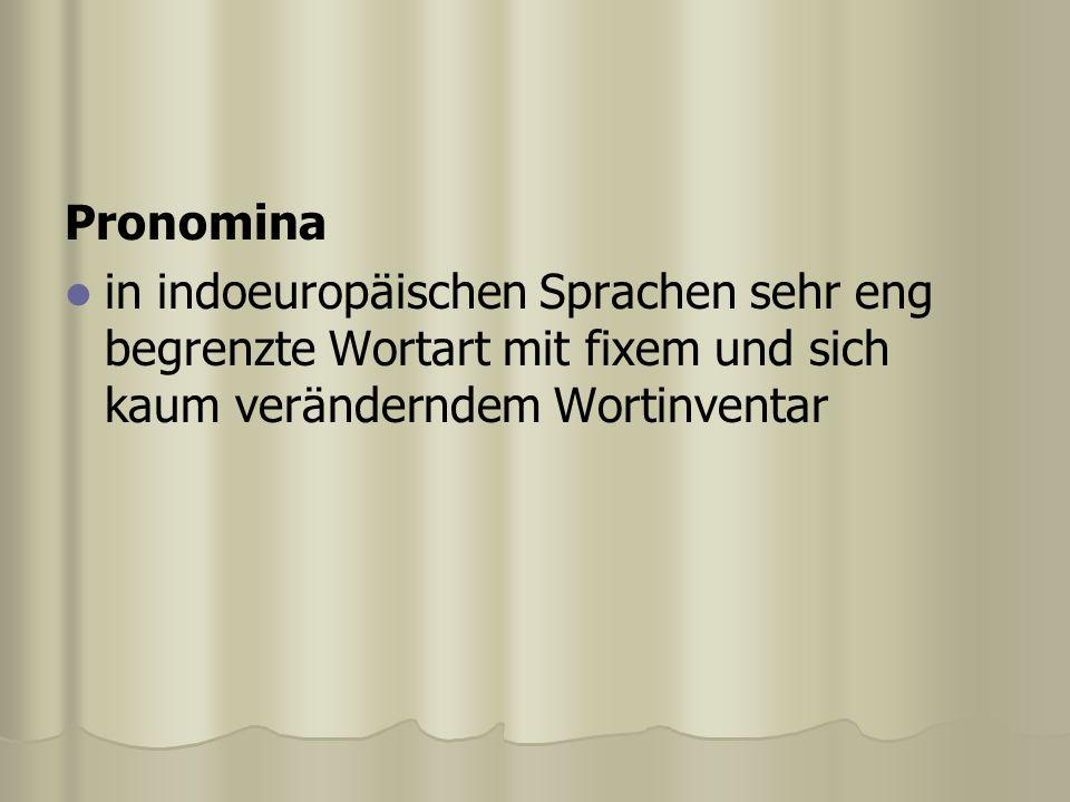 Pronomina in indoeuropäischen Sprachen sehr eng begrenzte Wortart mit fixem und sich kaum veränderndem Wortinventar