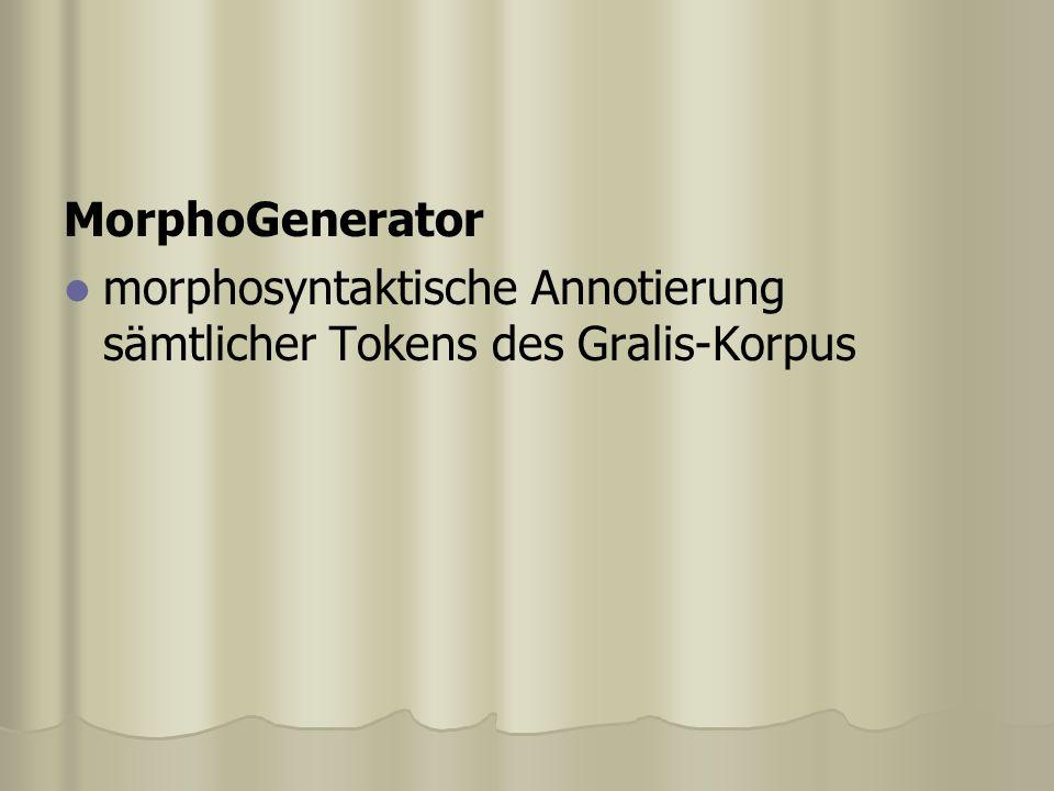 MorphoGenerator morphosyntaktische Annotierung sämtlicher Tokens des Gralis-Korpus