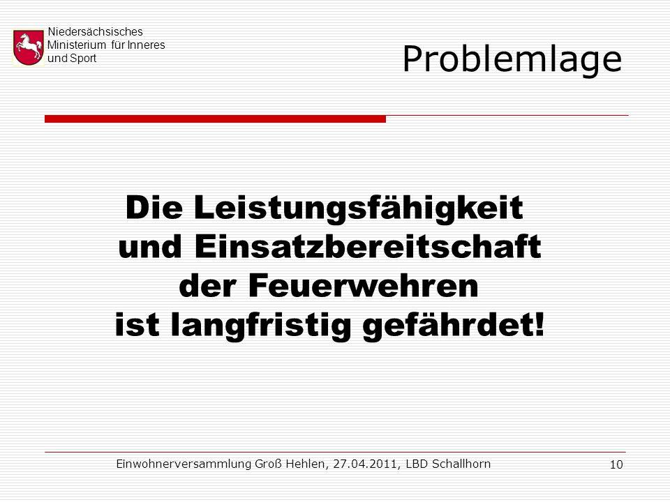 Niedersächsisches Ministerium für Inneres und Sport Einwohnerversammlung Groß Hehlen, 27.04.2011, LBD Schallhorn 10 Problemlage Die Leistungsfähigkeit und Einsatzbereitschaft der Feuerwehren ist langfristig gefährdet!