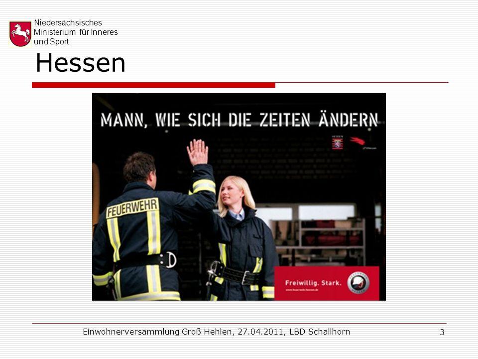 """Niedersächsisches Ministerium für Inneres und Sport Einwohnerversammlung Groß Hehlen, 27.04.2011, LBD Schallhorn 24 Trainingszentrum (praktische Ausbildung) """"Schule (Internatsbetrieb)"""