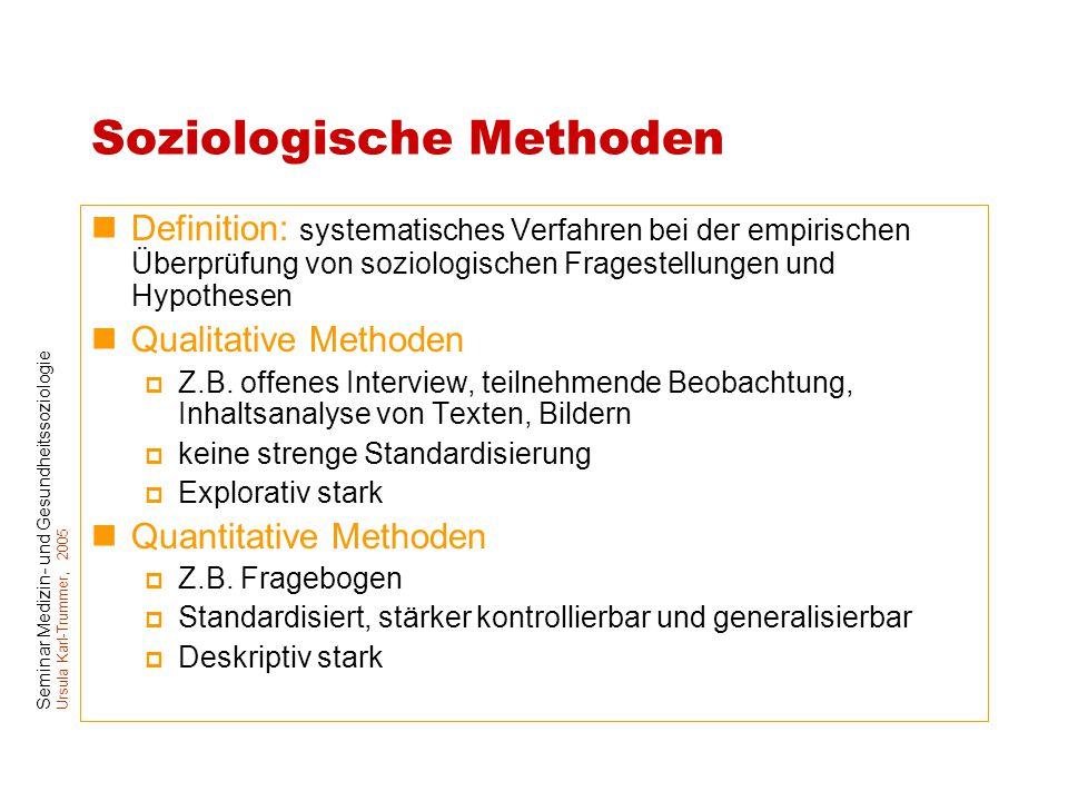Seminar Medizin- und Gesundheitssoziologie Ursula Karl-Trummer, 2005 Soziologische Methoden Definition: systematisches Verfahren bei der empirischen Ü