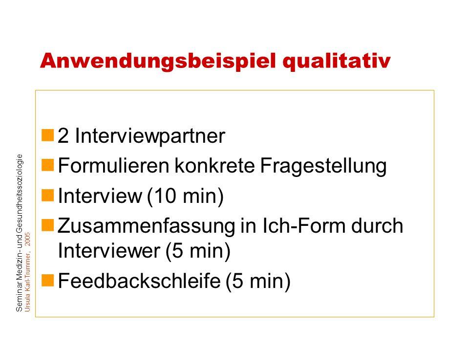 Seminar Medizin- und Gesundheitssoziologie Ursula Karl-Trummer, 2005 Anwendungsbeispiel qualitativ 2 Interviewpartner Formulieren konkrete Fragestellu