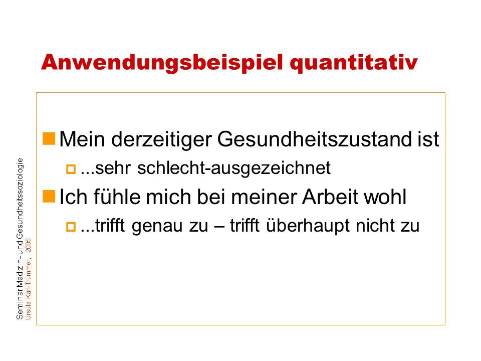 Seminar Medizin- und Gesundheitssoziologie Ursula Karl-Trummer, 2005 Anwendungsbeispiel quantitativ Mein derzeitiger Gesundheitszustand ist ...sehr s