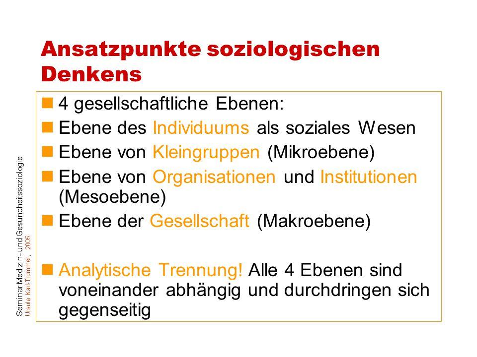 Seminar Medizin- und Gesundheitssoziologie Ursula Karl-Trummer, 2005 Ansatzpunkte soziologischen Denkens 4 gesellschaftliche Ebenen: Ebene des Individ