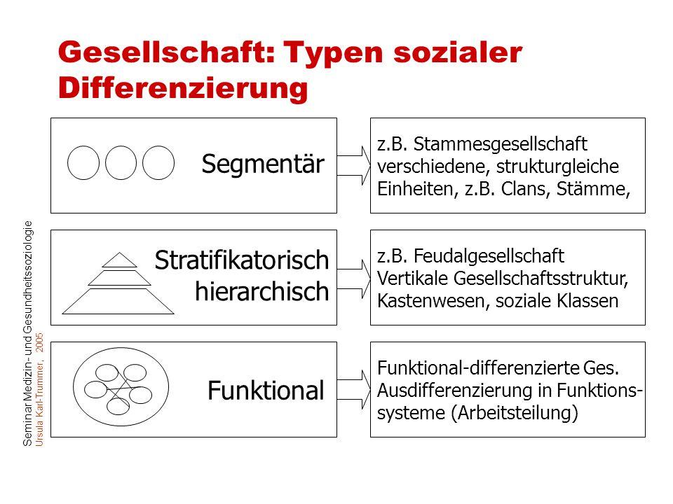 Seminar Medizin- und Gesundheitssoziologie Ursula Karl-Trummer, 2005 Gesellschaft: Typen sozialer Differenzierung Segmentär Stratifikatorisch hierarch