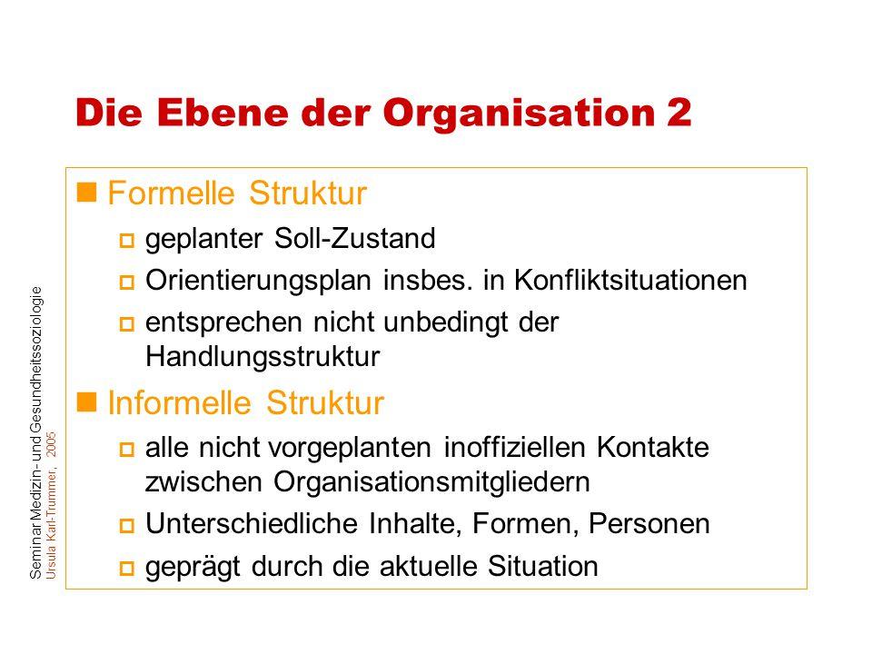 Seminar Medizin- und Gesundheitssoziologie Ursula Karl-Trummer, 2005 Die Ebene der Organisation 2 Formelle Struktur  geplanter Soll-Zustand  Orienti