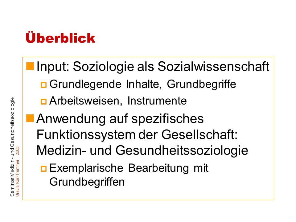 Seminar Medizin- und Gesundheitssoziologie Ursula Karl-Trummer, 2005 Überblick Input: Soziologie als Sozialwissenschaft  Grundlegende Inhalte, Grundb