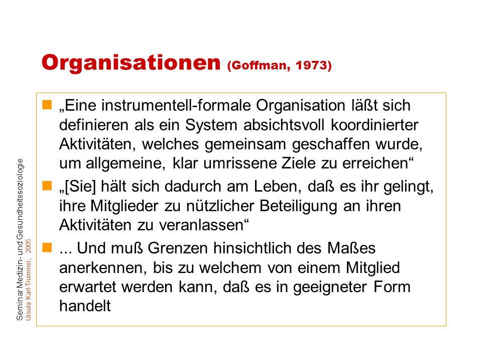 """Seminar Medizin- und Gesundheitssoziologie Ursula Karl-Trummer, 2005 Organisationen (Goffman, 1973) """"Eine instrumentell-formale Organisation läßt sich"""