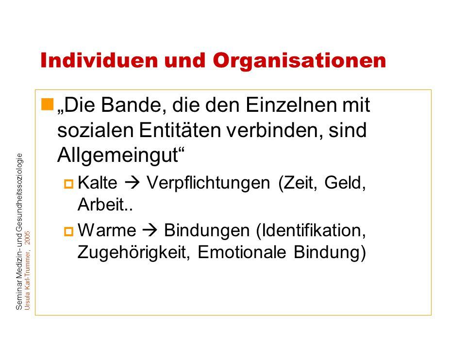 """Seminar Medizin- und Gesundheitssoziologie Ursula Karl-Trummer, 2005 Individuen und Organisationen """"Die Bande, die den Einzelnen mit sozialen Entitäte"""