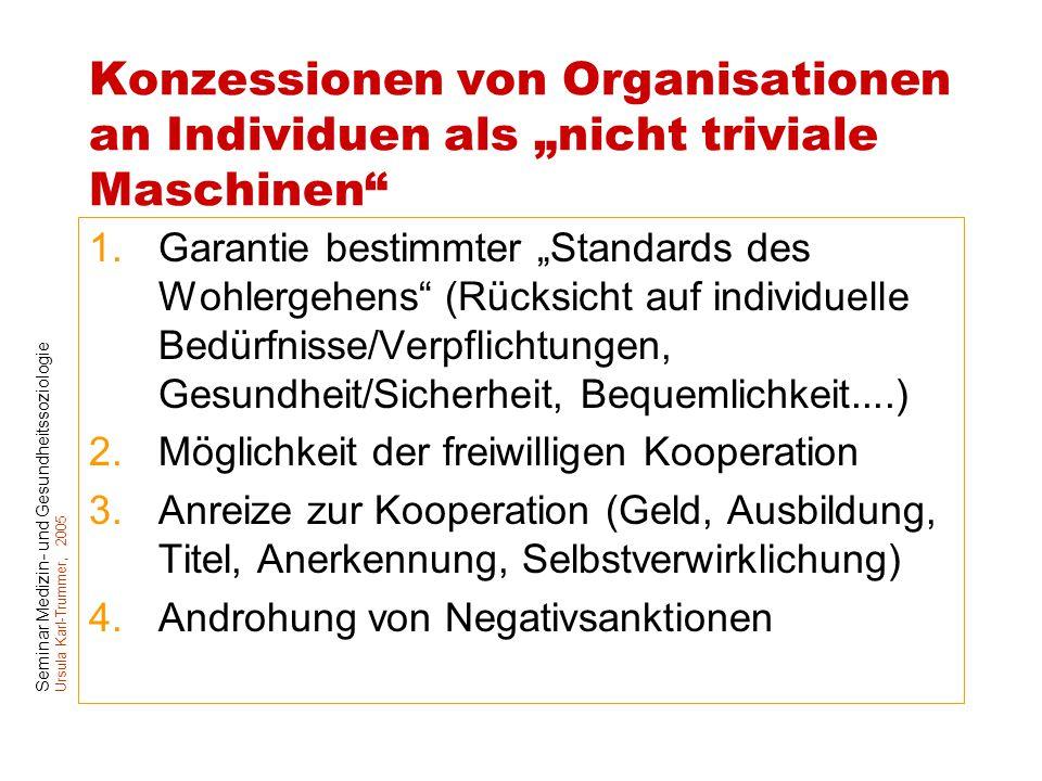 """Seminar Medizin- und Gesundheitssoziologie Ursula Karl-Trummer, 2005 Konzessionen von Organisationen an Individuen als """"nicht triviale Maschinen"""" 1.Ga"""