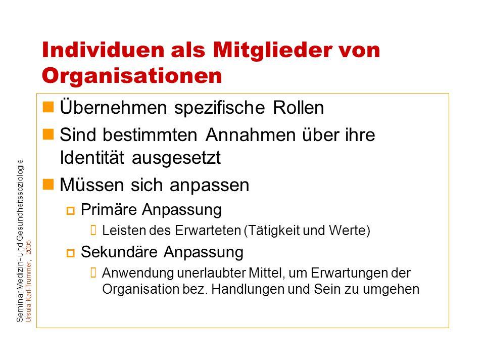 Seminar Medizin- und Gesundheitssoziologie Ursula Karl-Trummer, 2005 Individuen als Mitglieder von Organisationen Übernehmen spezifische Rollen Sind b