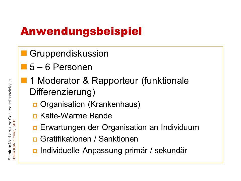 Seminar Medizin- und Gesundheitssoziologie Ursula Karl-Trummer, 2005 Anwendungsbeispiel Gruppendiskussion 5 – 6 Personen 1 Moderator & Rapporteur (fun
