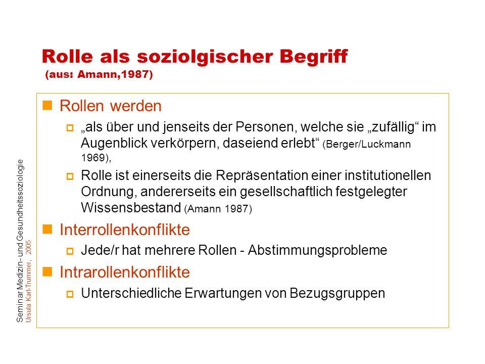 """Seminar Medizin- und Gesundheitssoziologie Ursula Karl-Trummer, 2005 Rolle als soziolgischer Begriff (aus: Amann,1987) Rollen werden  """"als über und j"""