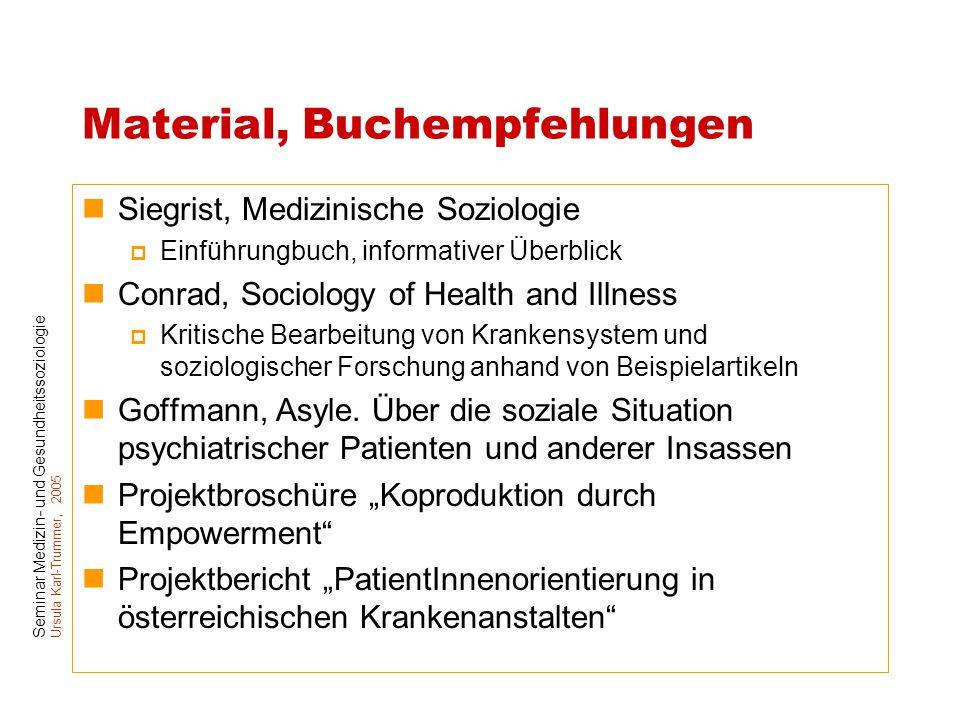 Seminar Medizin- und Gesundheitssoziologie Ursula Karl-Trummer, 2005 Material, Buchempfehlungen Siegrist, Medizinische Soziologie  Einführungbuch, in