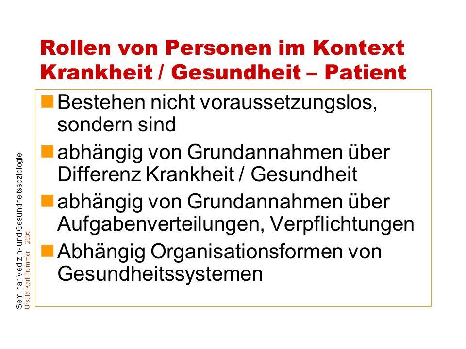 Seminar Medizin- und Gesundheitssoziologie Ursula Karl-Trummer, 2005 Rollen von Personen im Kontext Krankheit / Gesundheit – Patient Bestehen nicht vo