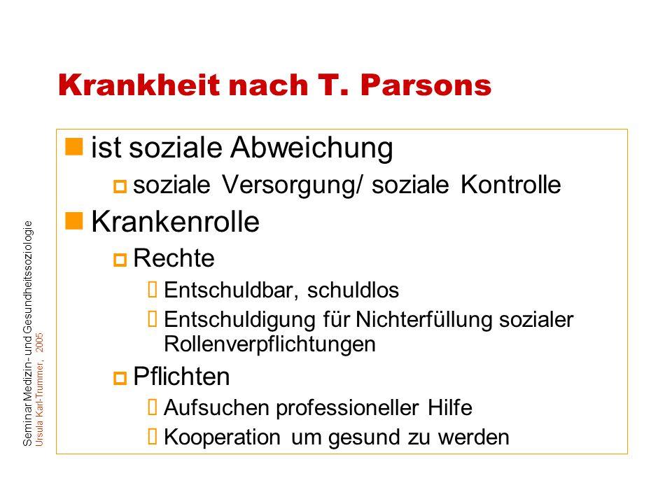 Seminar Medizin- und Gesundheitssoziologie Ursula Karl-Trummer, 2005 Krankheit nach T. Parsons ist soziale Abweichung  soziale Versorgung/ soziale Ko