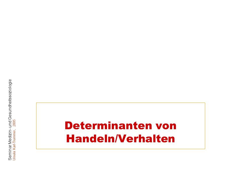 Seminar Medizin- und Gesundheitssoziologie Ursula Karl-Trummer, 2005 Determinanten von Handeln/Verhalten