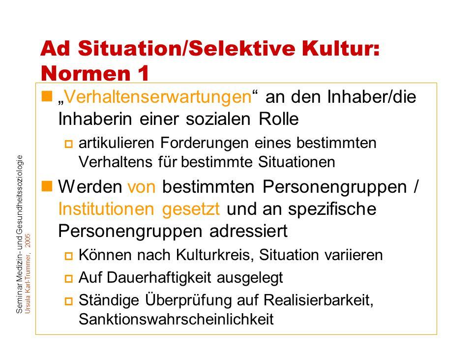 """Seminar Medizin- und Gesundheitssoziologie Ursula Karl-Trummer, 2005 Ad Situation/Selektive Kultur: Normen 1 """"Verhaltenserwartungen"""" an den Inhaber/di"""