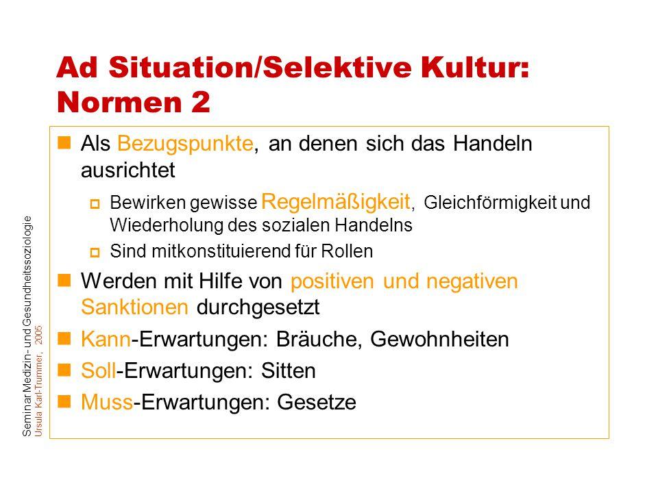 Seminar Medizin- und Gesundheitssoziologie Ursula Karl-Trummer, 2005 Ad Situation/Selektive Kultur: Normen 2 Als Bezugspunkte, an denen sich das Hande