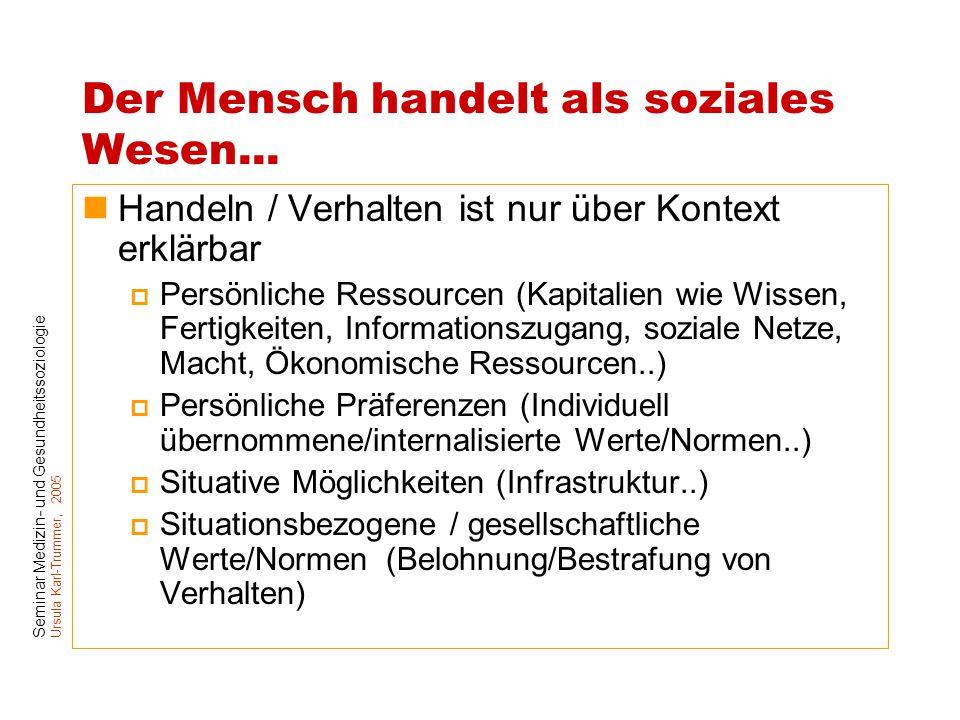 Seminar Medizin- und Gesundheitssoziologie Ursula Karl-Trummer, 2005 Der Mensch handelt als soziales Wesen... Handeln / Verhalten ist nur über Kontext