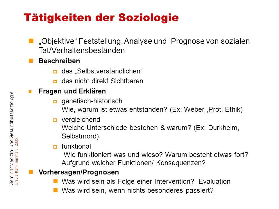 """Seminar Medizin- und Gesundheitssoziologie Ursula Karl-Trummer, 2005 Tätigkeiten der Soziologie """"Objektive"""" Feststellung, Analyse und Prognose von soz"""