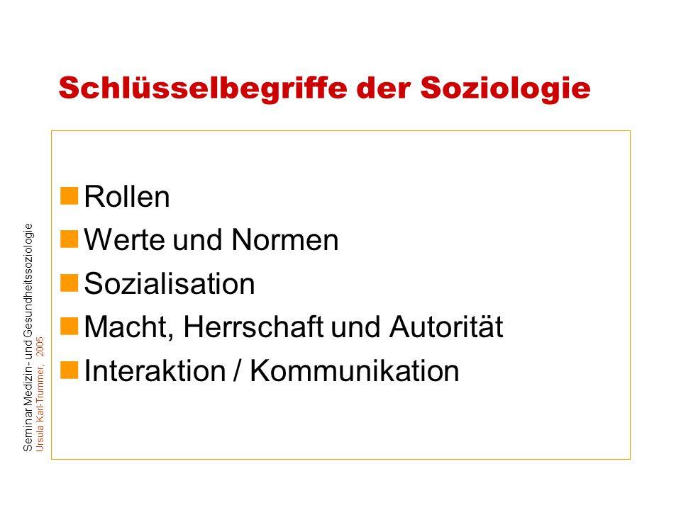 Seminar Medizin- und Gesundheitssoziologie Ursula Karl-Trummer, 2005 Schlüsselbegriffe der Soziologie Rollen Werte und Normen Sozialisation Macht, Her