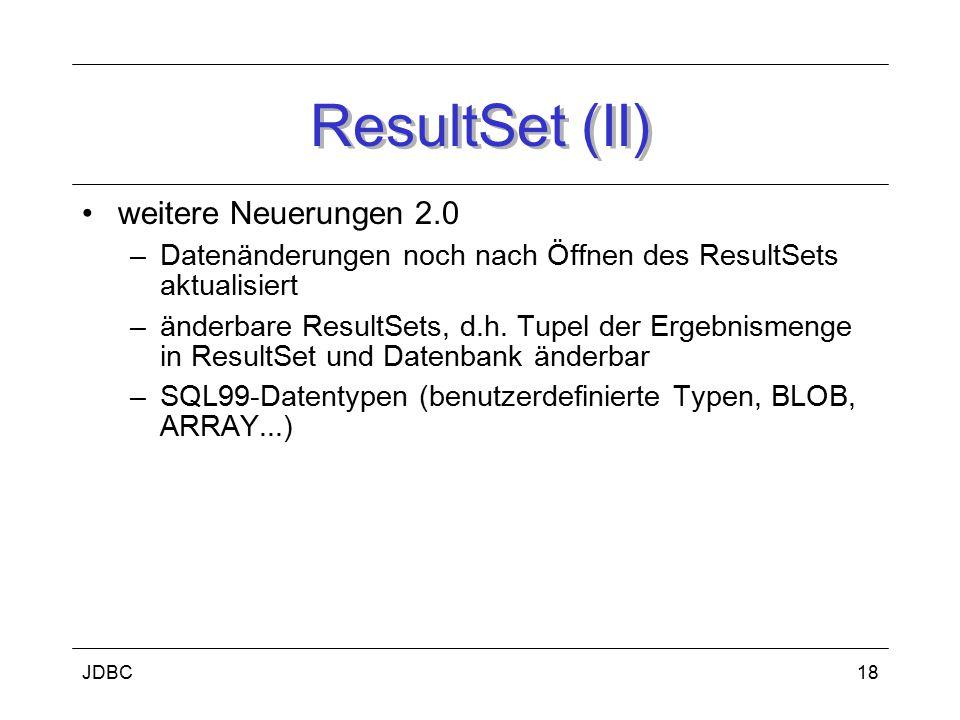JDBC19 Fehlerbehandlung Problem: DBMS nutzen z.T.