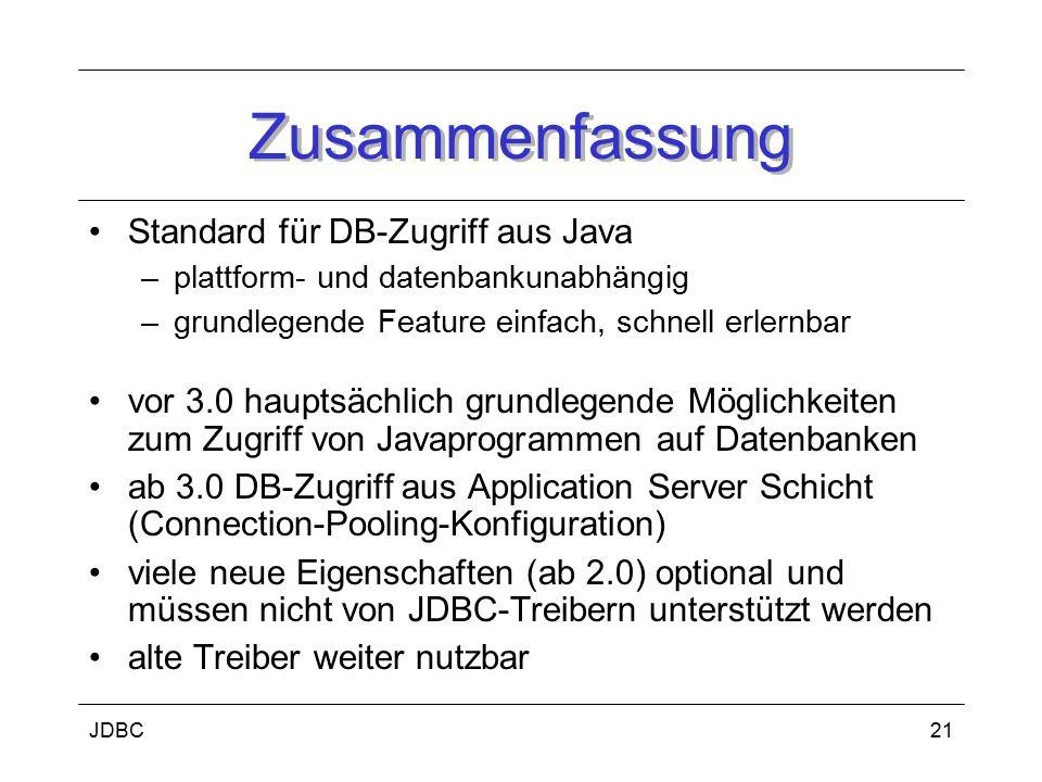 JDBC22 Literatur Saake, G., Sattler, K.: Datenbanken & Java: JDBC, SQLJ und ODMG dpunkt.verlag, Heidelberg, Mai 2000.
