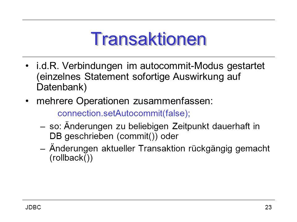 JDBC24 Neuerungen in JDBC 3.0 im Vordergrund DB-Zugriff aus Application Server Schicht –Connection-Pooling-Konfiguration –Savepoints –Wiederverwendung von Prepared Statements –Zugriff auf automatisch generierte Schlüssel –Zugriff auf Metainformtionen von Statement- Parametern –Verbesserungen bei Result-Sets