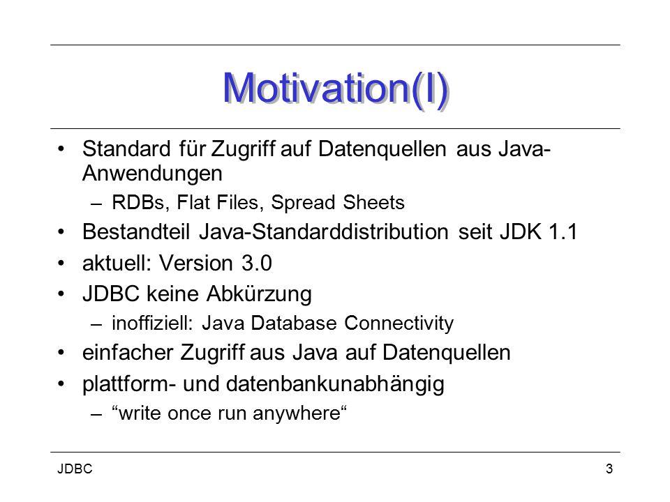 JDBC4 Motivation (II) unterschiedliche DBS besitzen unterschiedliche Programmierschnittstellen somit: –schwer, DBMS-unabhängige Anwendungen zu entwickeln –Probleme bei Portierung auf andere DBMS deshalb: –JDBC entwickelt somit: –selber Quellcode für Kommunikation mit beliebiger DB –(Voraussetzung: JDBC-Treiber und ANSI SQL-2 Fähigkeit der DB)