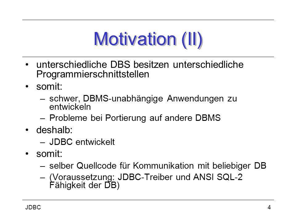 JDBC5 Bestandteile (I) Klassen und Schnittstellen des package java.sql bzw.