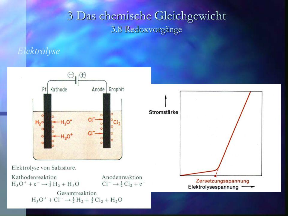 3 Das chemische Gleichgewicht 3.8 Redoxvorgänge Elektrolyse Chloralkali-Elektrolyse Amalgamverfahren
