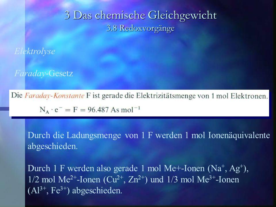 3 Das chemische Gleichgewicht 3.8 Redoxvorgänge Elektrolyse Faraday-Gesetz Durch die Ladungsmenge von 1 F werden 1 mol Ionenäquivalente abgeschieden.