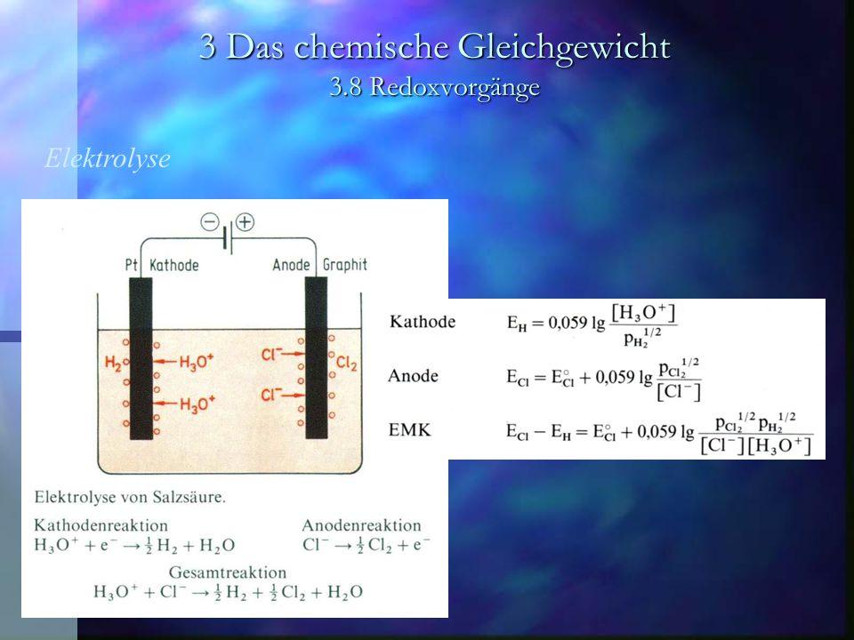 3 Das chemische Gleichgewicht 3.8 Redoxvorgänge Elektrochemische Spannungsquellen Natrium-Schwefel-Akkumulator Besteht aus bei der Betriebstemperatur von 300 - 350 °C flüssigen Elektroden aus Natrium und Schwefel.