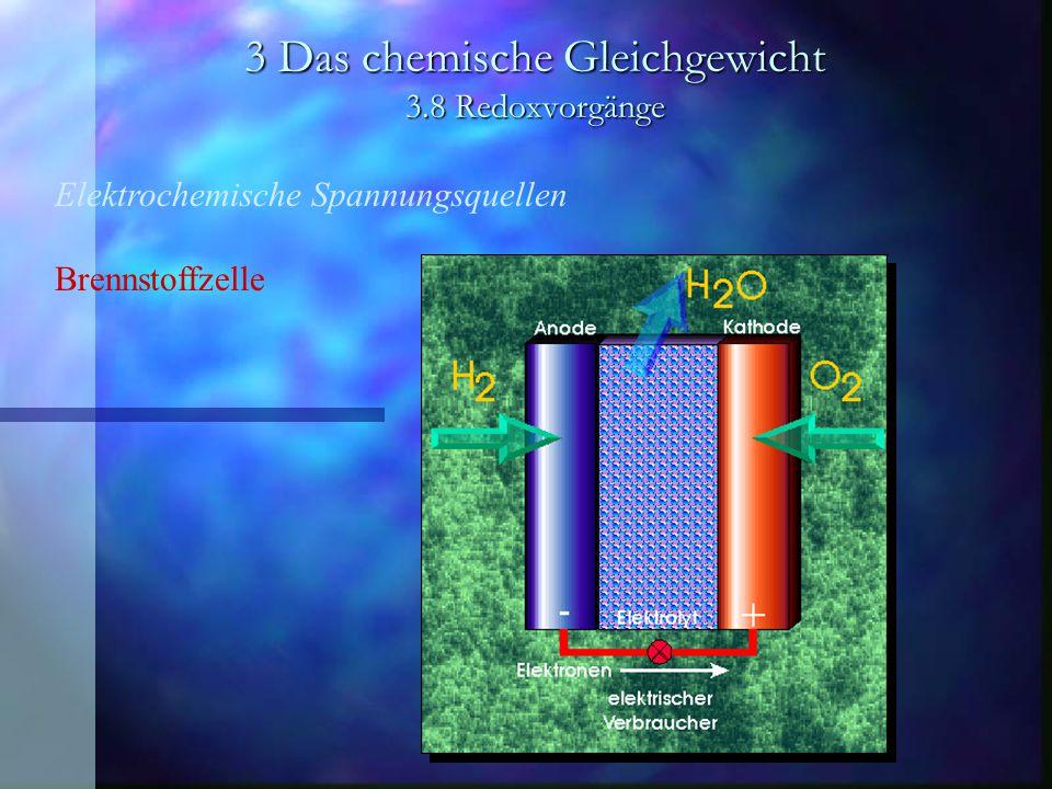 3 Das chemische Gleichgewicht 3.8 Redoxvorgänge Elektrochemische Spannungsquellen Brennstoffzelle