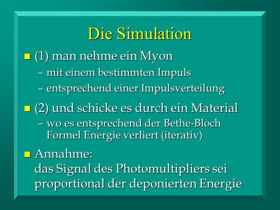 n (1) man nehme ein Myon –mit einem bestimmten Impuls –entsprechend einer Impulsverteilung n (2) und schicke es durch ein Material –wo es entsprechend der Bethe-Bloch Formel Energie verliert (iterativ) n Annahme: das Signal des Photomultipliers sei proportional der deponierten Energie Die Simulation