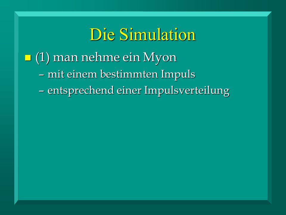 n (1) man nehme ein Myon –mit einem bestimmten Impuls –entsprechend einer Impulsverteilung Die Simulation