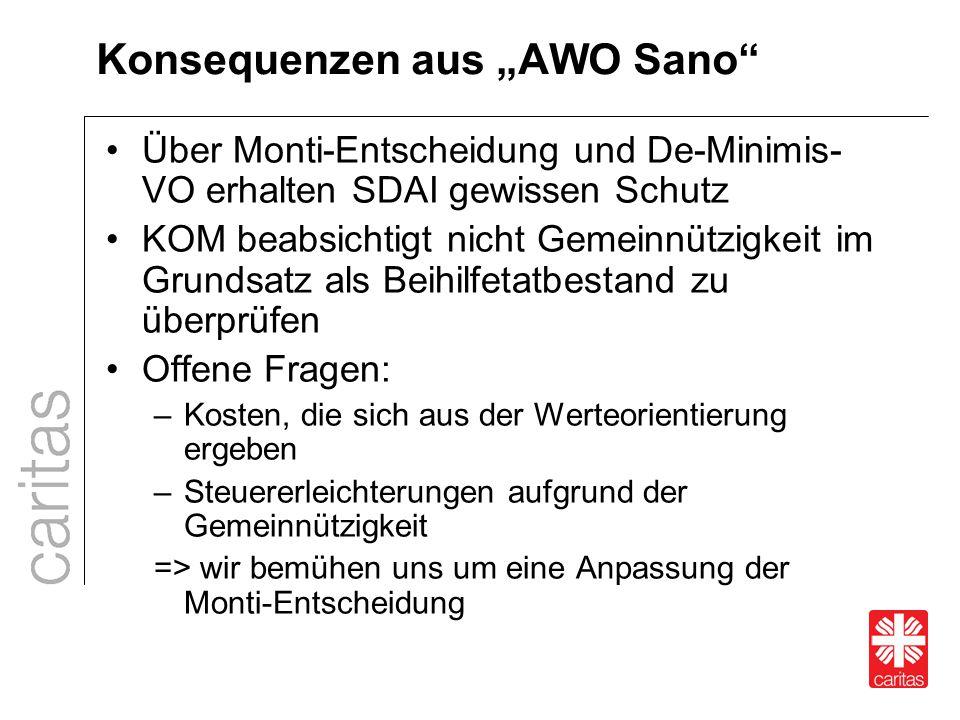 """Konsequenzen aus """"AWO Sano"""" Über Monti-Entscheidung und De-Minimis- VO erhalten SDAI gewissen Schutz KOM beabsichtigt nicht Gemeinnützigkeit im Grunds"""