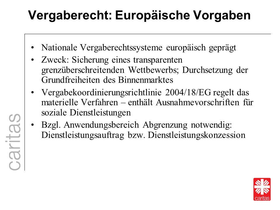 Vergaberecht: Europäische Vorgaben Nationale Vergaberechtssysteme europäisch geprägt Zweck: Sicherung eines transparenten grenzüberschreitenden Wettbe