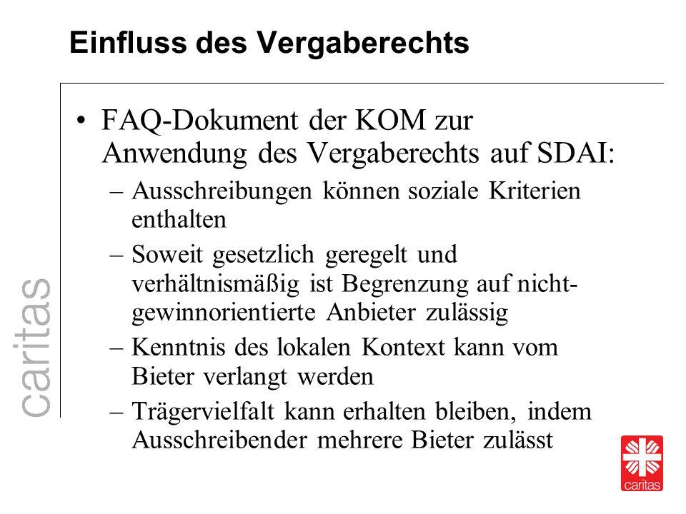 Einfluss des Vergaberechts FAQ-Dokument der KOM zur Anwendung des Vergaberechts auf SDAI: –Ausschreibungen können soziale Kriterien enthalten –Soweit