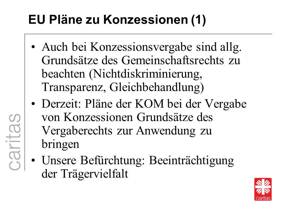 EU Pläne zu Konzessionen (1) Auch bei Konzessionsvergabe sind allg. Grundsätze des Gemeinschaftsrechts zu beachten (Nichtdiskriminierung, Transparenz,