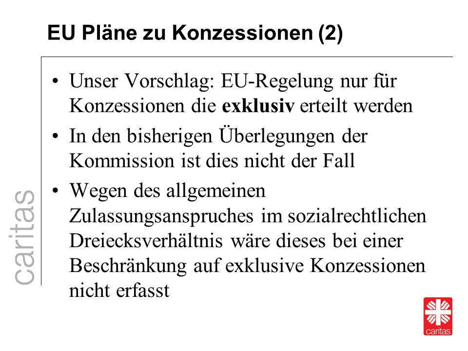 EU Pläne zu Konzessionen (2) Unser Vorschlag: EU-Regelung nur für Konzessionen die exklusiv erteilt werden In den bisherigen Überlegungen der Kommissi