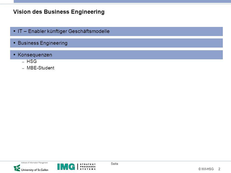 2 © IWI-HSG Seite Vision des Business Engineering  IT – Enabler künftiger Geschäftsmodelle  Business Engineering  Konsequenzen – HSG – MBE-Student