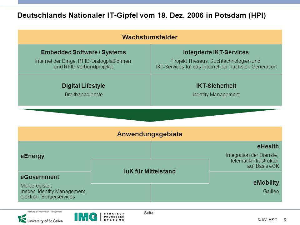 6 © IWI-HSG Seite Anwendungsgebiete Wachstumsfelder Deutschlands Nationaler IT-Gipfel vom 18.