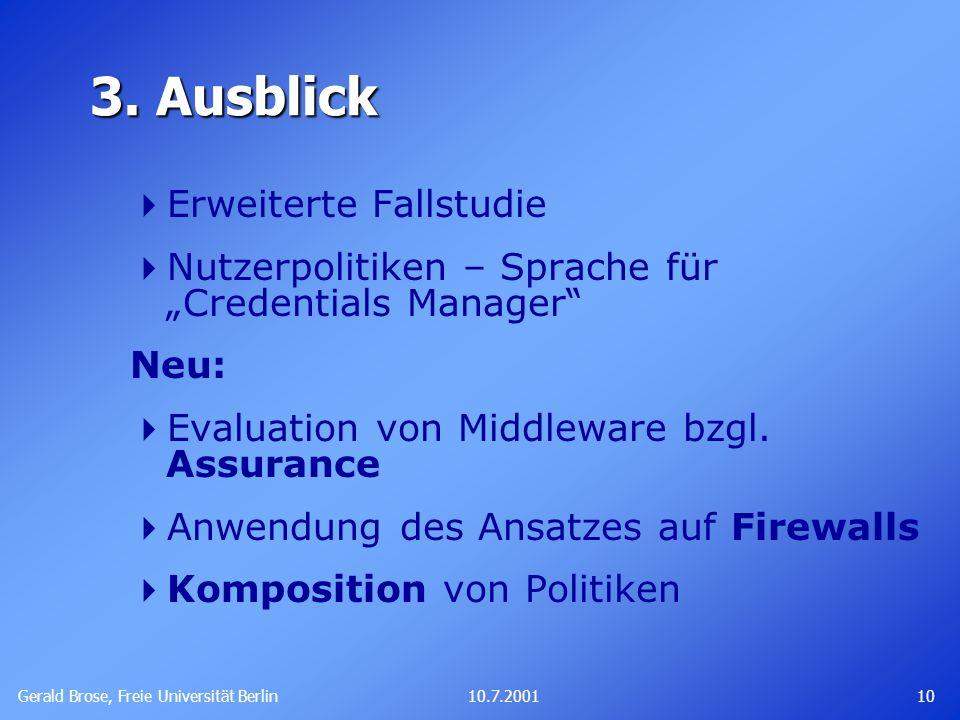 Gerald Brose, Freie Universität Berlin 1010.7.2001 3.