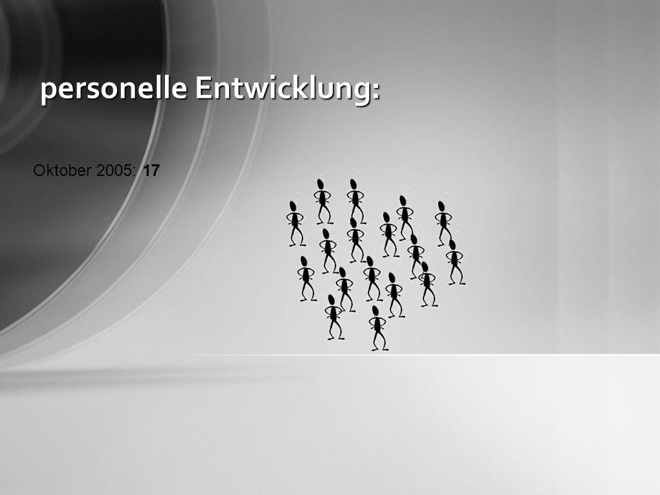 personelle Entwicklung: Oktober 2005: 17 Oktober 2006: 31